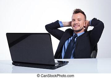 Hombre de negocios con las manos detrás de la cabeza