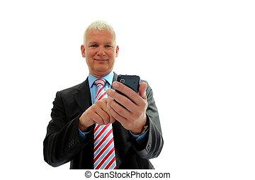 Hombre de negocios con móvil aislado