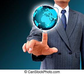 Hombre de negocios con mundo de negocios