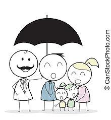 Hombre de negocios con seguro de familia