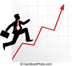 Hombre de negocios con un diagrama exitoso