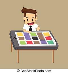 Hombre de negocios con un escritorio, un smartphone