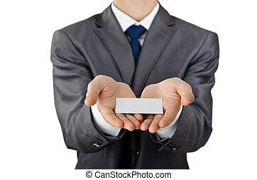 Hombre de negocios con un mensaje en blanco
