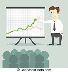 Hombre de negocios con una presentación gráfica a la gente