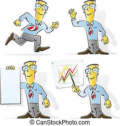 hombre de negocios, conjunto, caricatura