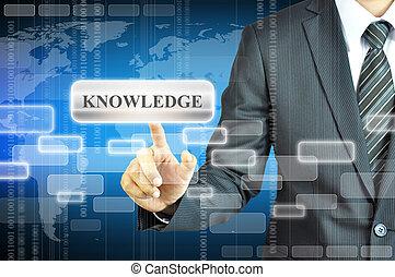 hombre de negocios, conmovedor, conocimiento, señal