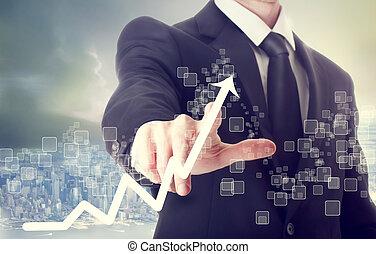 hombre de negocios, conmovedor, tabla de crecimiento, indicar