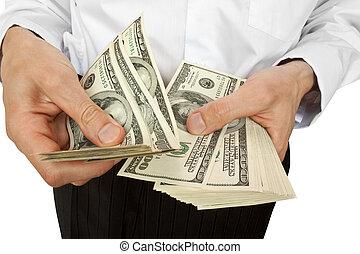 hombre de negocios, cuenta, dinero, manos