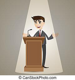 Hombre de negocios de dibujos animados hablando en el podio