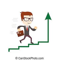 Hombre de negocios de pie en el gráfico subiendo. Concepto el éxito comercial.