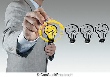 Hombre de negocios dibujando bombilla como concepto creativo