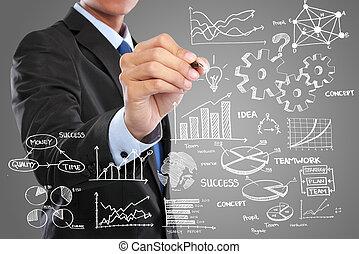Hombre de negocios dibujando el concepto de negocios moderno