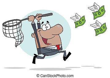 hombre de negocios, dinero, hispano, perseguir