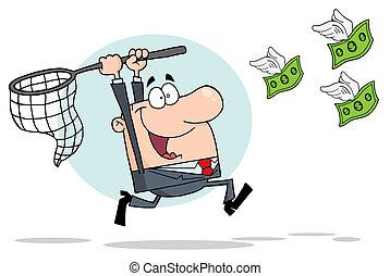 hombre de negocios, dinero, perseguir