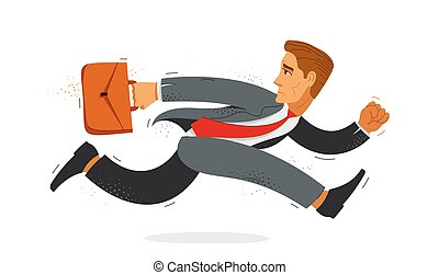 hombre de negocios, divertido, contador, rush., empleado, apuro, tarde, ilustración, vector, trabajador, cómico, empresa / negocio, lindo, caricatura, hombre, o, corra