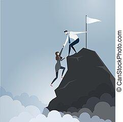 hombre de negocios, empresa / negocio, -, socio, vector, montaña, tira, cima, concepto