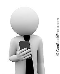 Hombre de negocios en 3D usa teléfono móvil