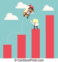 Hombre de negocios en cohete que se eleva desde el gráfico del éxito