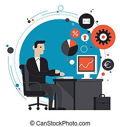 Hombre de negocios en la oficina ilustración plana