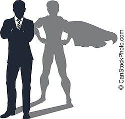 Hombre de negocios en la sombra de Superhéroe