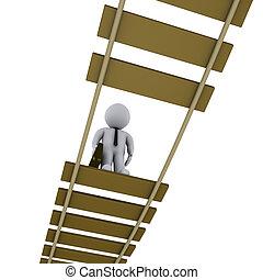 Hombre de negocios en puente dañado mirando hacia abajo