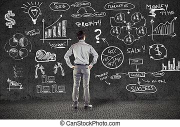 Hombre de negocios en traje y plan de negocios en la pared grunge