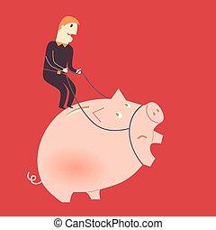 Hombre de negocios en un cerdo