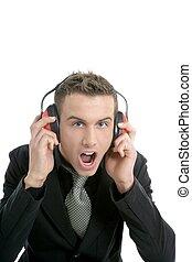 hombre de negocios, enviroment, auriculares, grito, ruidoso