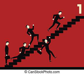 hombre de negocios, escalera, competición