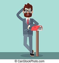 Hombre de negocios esperando el correo