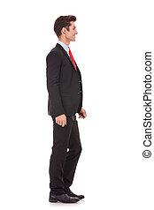 Hombre de negocios esperando en línea