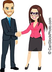 Hombre de negocios estrechando manos de mujer de negocios