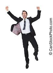 hombre de negocios, excitado, éxito, celebración