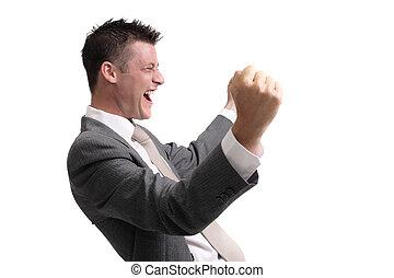 Hombre de negocios excitado