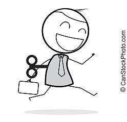 hombre de negocios, feliz, automatización