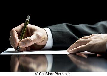 hombre de negocios, firma, o, escritura carta