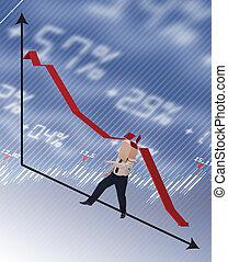 Hombre de negocios golpeado por el concepto de la recesión