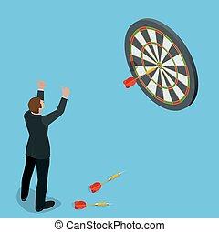 Hombre de negocios golpeando el centro del objetivo. Apuntando a un concepto de alto objetivo. Idea de negocios. Ilustración de vectores indígenas planas 3D.