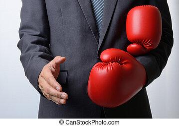 hombre de negocios, guantes de boxeo, apretón de manos, oferta, quitar, b, blanco