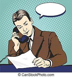 Hombre de negocios hablando por teléfono y leyendo documentos. Ilustración de vectores en estilo de arte pop retro