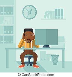 hombre de negocios hecho trabajar demasiado, stress., debajo