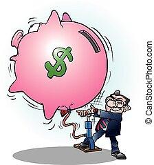 hombre de negocios, hinchado, dólar, economía