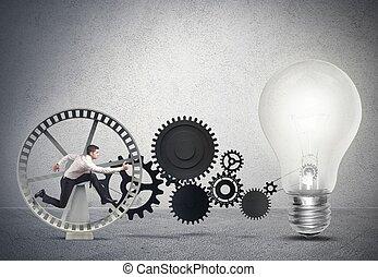 Hombre de negocios impulsando una idea