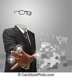 Hombre de negocios invisible trabajando en tecnología moderna