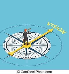 Hombre de negocios isométrico con telescopio de catalejo en la brújula que apunta a la palabra de visión