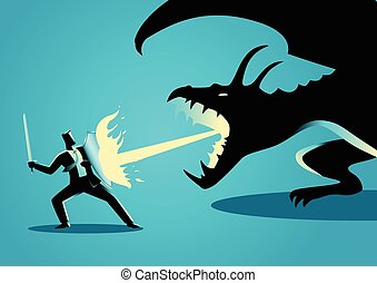hombre de negocios, lucha, dragón