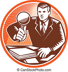 Hombre de negocios magnificando vidrios buscando documentos