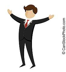 hombre de negocios, manos, abierto, de par en par