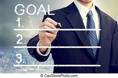 hombre de negocios, metas, listado