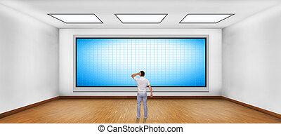 Hombre de negocios mirando televisión de plasma en blanco